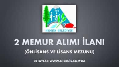 Hemşin Belediyesi 2 Memur Alımı İlanı (Önlisans ve Lisans Mezunu)