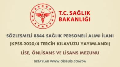 Sağlık Bakanlığı Sözleşmeli 8844 Sağlık Personeli Alımı