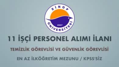Sinop Üniversitesi 11 İşçi Alımı İlanı (Son Başvuru Tarihi: 06.03.2020)