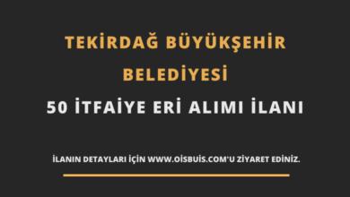 Tekirdağ Büyükşehir Belediyesi 50 İtfaiye Eri Alımı