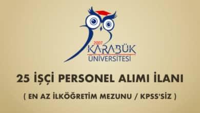 Karabük Üniversitesi 25 İşçi Alımı