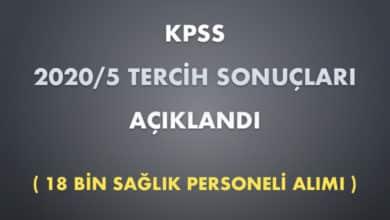 KPSS 2020/5 Tercih Sonuçları