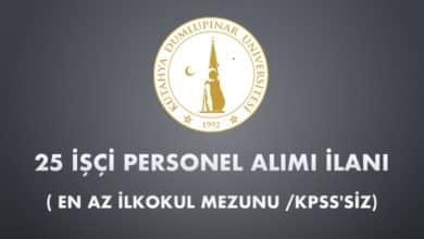 Kütahya Dumlupınar Üniversitesi 25 İşçi Alımı