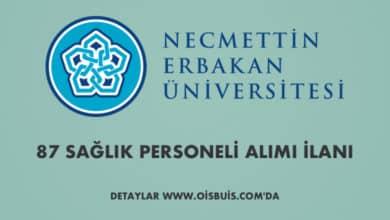 Necmettin Erbakan Üniversitesi Sözleşmeli 87 Sağlık Personeli Alımı