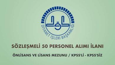 Diyanet İşleri Başkanlığı Sözleşmeli 50 Personel Alımı