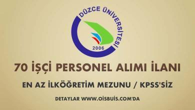 Düzce Üniversitesi 70 İşçi Personel Alımı
