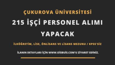 Çukurova Üniversitesi 215 İşçi Personel Alımı