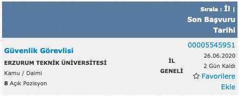 Erzurum Teknik Üniversitesi 8 Güvenlik Görevlisi Alımı Detayları
