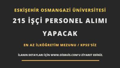 Eskişehir Osmangazi Üniversitesi 215 İşçi Personel Alımı