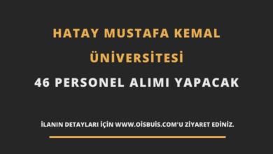 Hatay Mustafa Kemal Üniversitesi Sözleşmeli 46 Personel Alımı