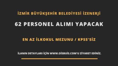 İzmir Büyükşehir Belediyesi İZENERJİ 62 Personel Alımı