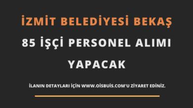 İzmit Belediyesi BEKAŞ 85 İşçi Personel Alımı