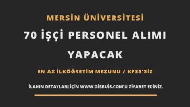 Mersin Üniversitesi 70 İşçi Personel Alımı