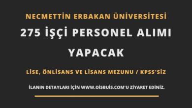 Necmettin Erbakan Üniversitesi 275 İşçi Personel Alımı
