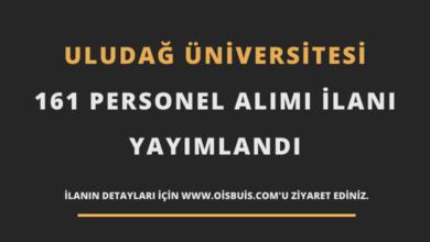 Bursa Uludağ Üniversitesi Sözleşmeli 161 Personel Alımı