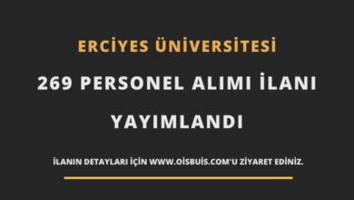 Erciyes Üniversitesi Sözleşmeli 269 Personel Alımı