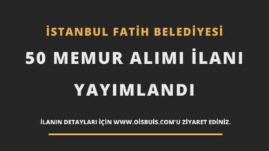 İstanbul Fatih Belediyesi 50 Memur Alımı