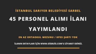 İstanbul Sarıyer Belediyesi SARBEL 45 Personel Alımı