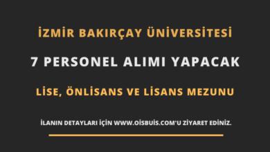 İzmir Bakırçay Üniversitesi Sözleşmeli 7 Personel Alımı