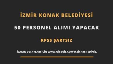 İzmir Konak Belediyesi 50 Personel Alımı