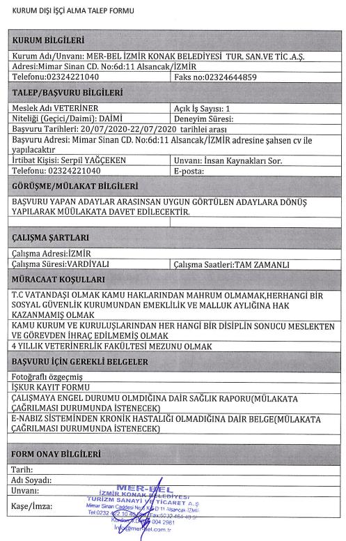 İzmir Konak Belediyesi 50 Personel Alımı Detayları 1