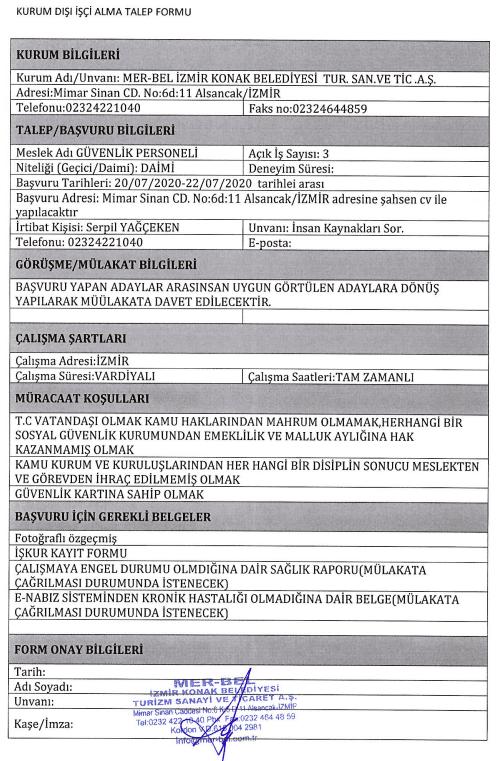 İzmir Konak Belediyesi 50 Personel Alımı Detayları 2