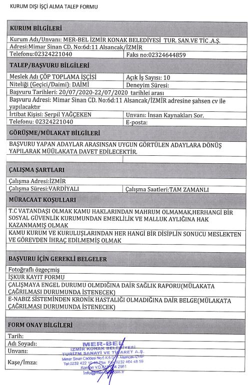 İzmir Konak Belediyesi 50 Personel Alımı Detayları 5