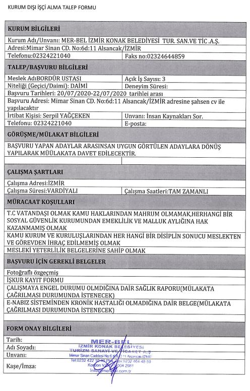 İzmir Konak Belediyesi 50 Personel Alımı Detayları 7
