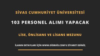 Sivas Cumhuriyet Üniversitesi Sözleşmeli 103 Personel Alımı