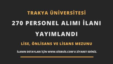 Trakya Üniversitesi Sözleşmeli 270 Personel Alımı