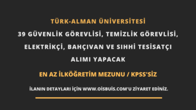 Türk-Alman Üniversitesi 39 Güvenlik Görevlisi, Temizlik Görevlisi, Elektrikçi, Bahçıvan ve Sıhhi Tesisatçı Alımı