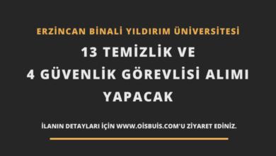 Erzincan Binali Yıldırım Üniversitesi 13 Temizlik ve 4 Güvenlik Görevlisi Alımı
