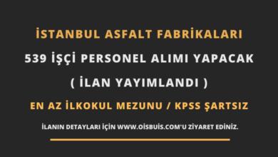 İstanbul Asfalt Fabrikaları 539 İşçi Personel Alımı