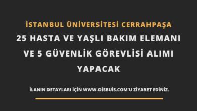 İstanbul Üniversitesi Cerrahpaşa 25 Hasta ve Yaşlı Bakım Elemanı ve 5 Güvenlik Görevlisi Alımı