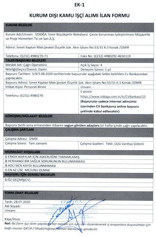 İzmir Büyükşehir Belediyesi İZDOĞA 24 İşçi Personel Alımı Detayları 1