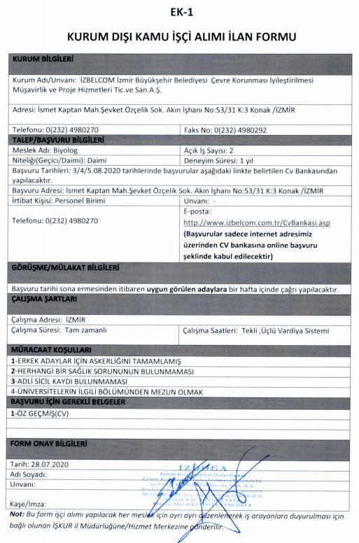 İzmir Büyükşehir Belediyesi İZDOĞA 24 İşçi Personel Alımı Detayları 4