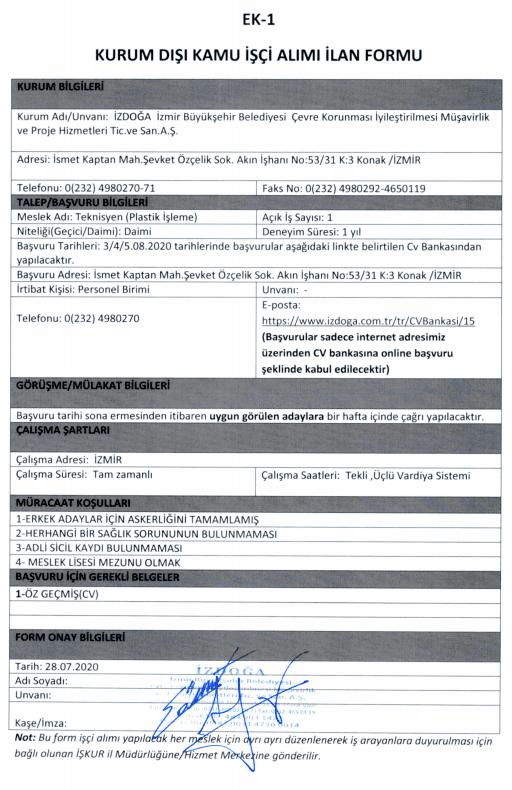 İzmir Büyükşehir Belediyesi İZDOĞA 24 İşçi Personel Alımı Detayları 8