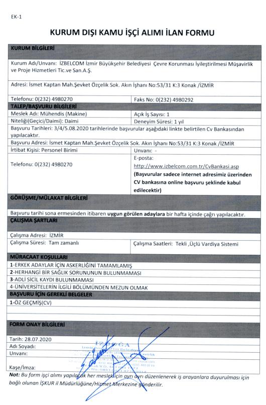 İzmir Büyükşehir Belediyesi İZDOĞA 24 İşçi Personel Alımı Detayları 9
