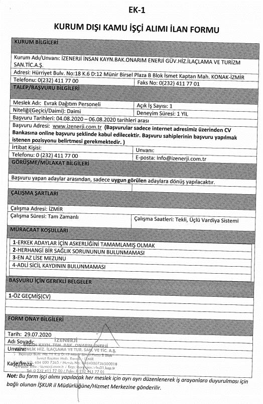 İzmir Büyükşehir Belediyesi İZENERJİ 47 Personel Alımı Detayları 6