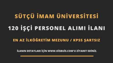 Sütçü İmam Üniversitesi 120 İşçi Personel Alımı