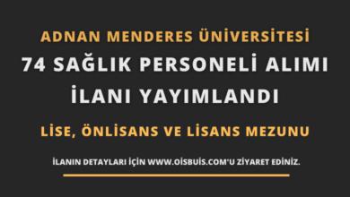 Adnan Menderes Üniversitesi 74 Sağlık Personeli Alımı
