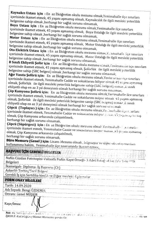 Ankara Yenimahalle Belediyesi 173 İşçi Personel Alımı Detayları 2
