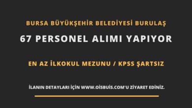 Bursa Büyükşehir Belediyesi BURULAŞ 67 Personel Alımı