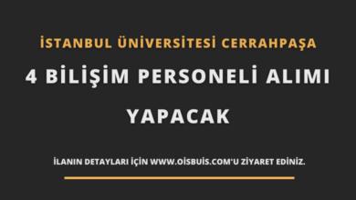 İstanbul Üniversitesi Cerrahpaşa Sözleşmeli 4 Bilişim Personeli Alımı