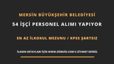 Mersin Büyükşehir Belediyesi 54 İşçi Personel Alımı