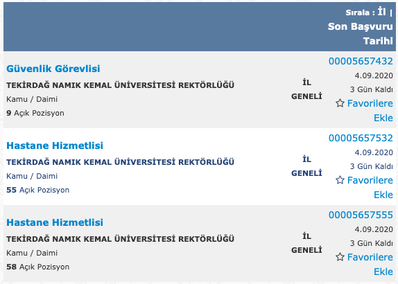 Namık Kemal Üniversitesi 122 İşçi Personel Alımı Detayları