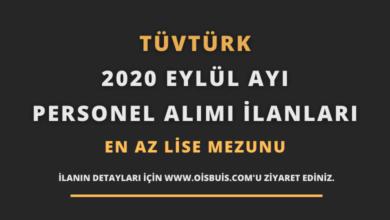TÜVTÜRK 2020 Eylül Ayı Personel Alımı