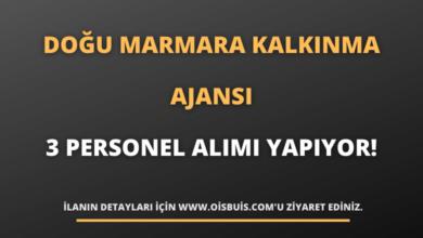 Doğu Marmara Kalkınma Ajansı 3 Personel Alımı Yapıyor!