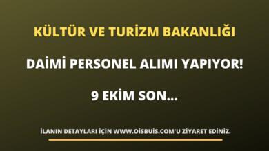 Kültür ve Turizm Bakanlığı Daimi Personel Alımı Yapıyor! 9 Ekim Son...