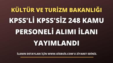 Kültür ve Turizm Bakanlığı KPSS'li KPSS'siz 248 Kamu Personeli Alımı